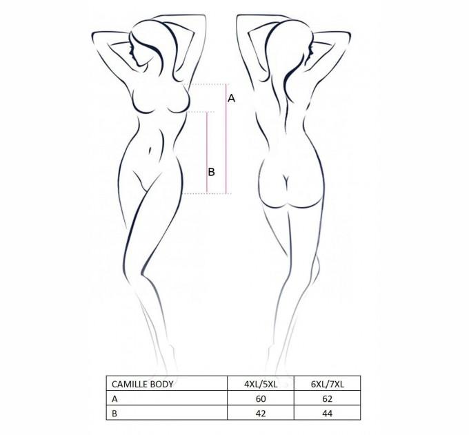 Женское боди Passion CAMILLE BODY 4XL/5XL Черный (PS1075)