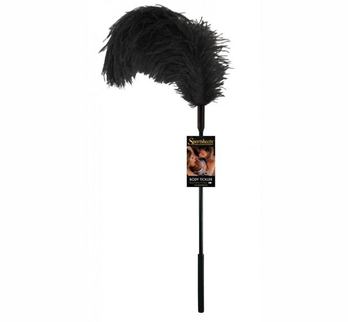 Щекоталка с пером страуса Sportsheets Ostrich Tickler Черная (SO1298)