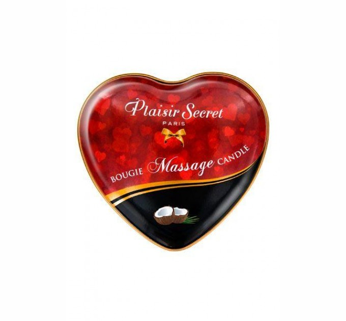 Массажная свеча сердечко Plaisirs Secrets Coconut 35 мл (SO1868)