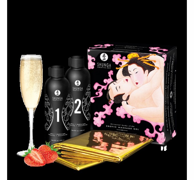 Гель для массажа Shunga ORIENTAL BODY-TO-BODY - Sparkling Strawberry Wine 2 x 225 мл (SO2551)
