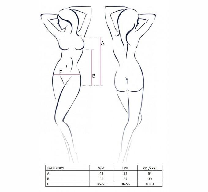 Женское боди Passion JEAN BODY XXL/XXXL Черный (EL11903)