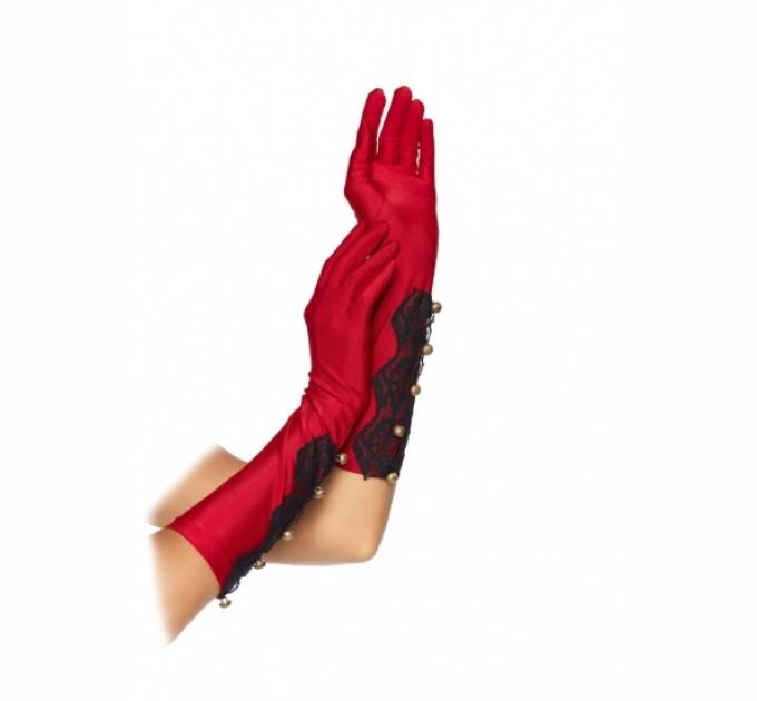 Атласные перчатки Leg Avenue Красные