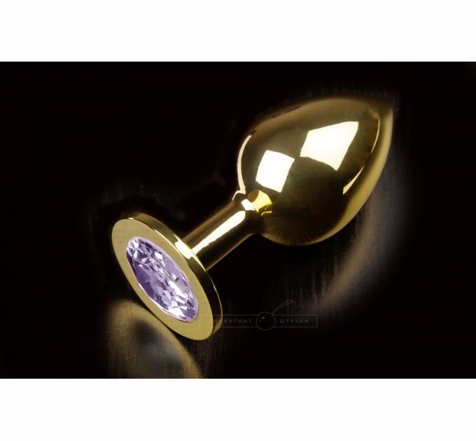 Большая золотистая анальная пробка Пикантные Штучки с кристаллом