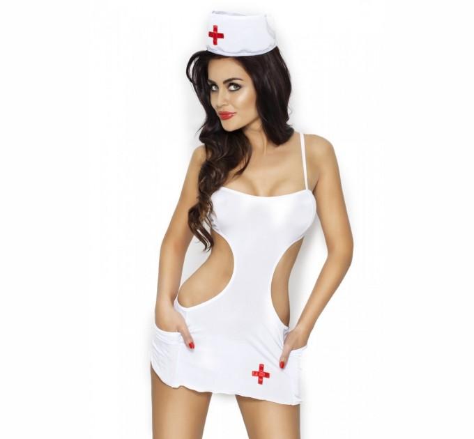 Эротический костюм медсестры Passion AKKIE SET XXL/XXXL Белый (EL10203)