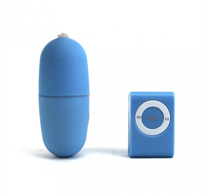 Беспроводное виброяйцо (вибропуля) с пультом MP3 Player Синий (hub_SMaV19778)