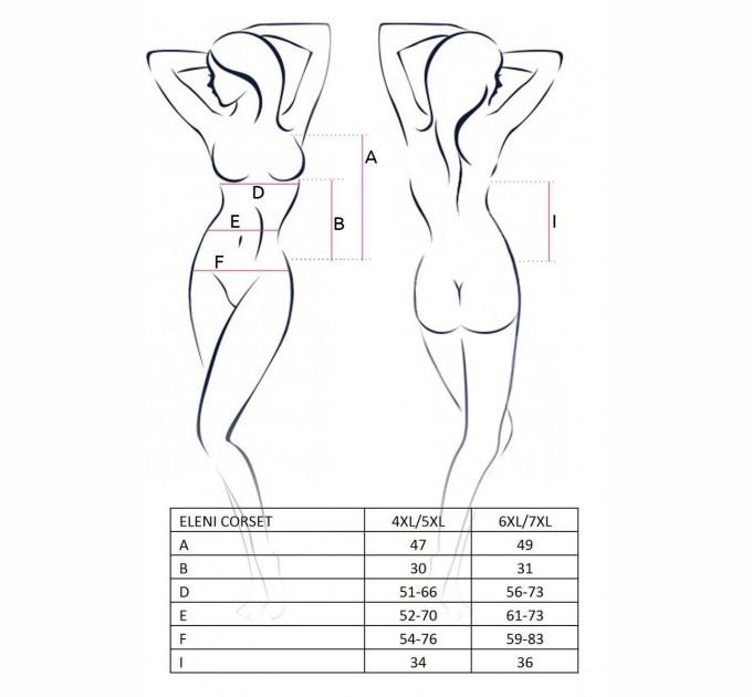 Корсет и трусики Passion ELENI CORSET 4XL/5XL Белый (PS1053)