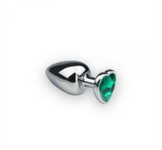 Анальная пробка Crystal Silver Heart Emerald M Серебро/Зеленый