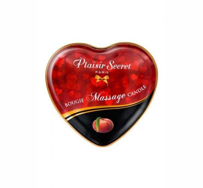 Массажная свеча сердечко Plaisirs Secrets Peach 35 мл (SO1872)